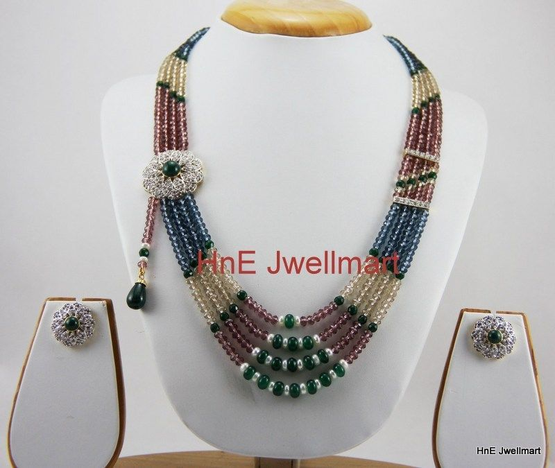Indian Party Multi Color 4 Strand Beads Pearls Necklace Set with CZ Earrings. #Handcrafted