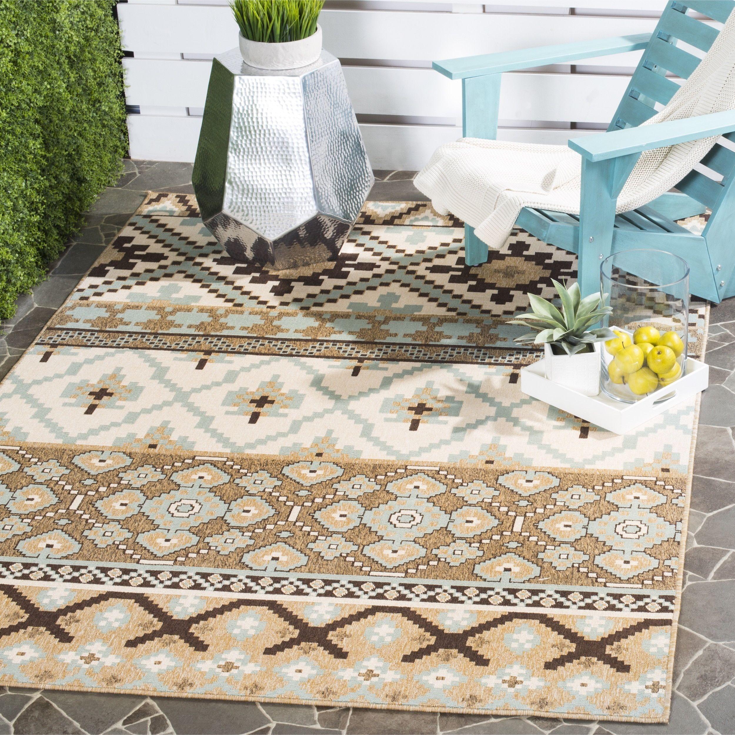 Safavieh Veranda Cream Brown Indoor Outdoor Area Rug 6 7 X 9 6