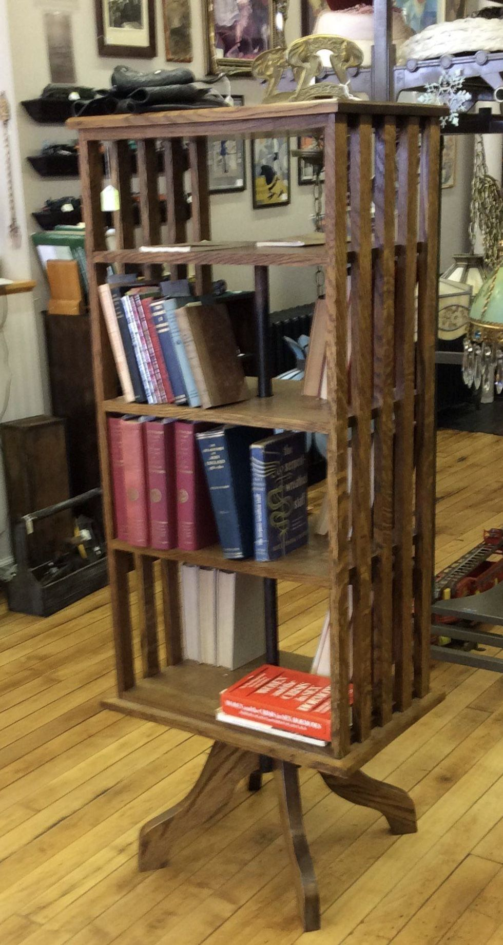 Vintage Oak Mission Style Revolving Bookcase Reflections From The