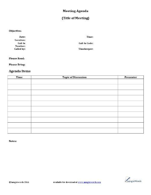 Agenda Sample Format Endearing Meeting Agenda Template  Microsoft Word