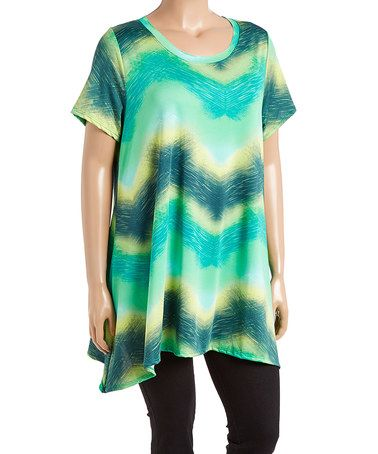 Look what I found on #zulily! Aqua Ombré Sidetail Tunic - Plus #zulilyfinds
