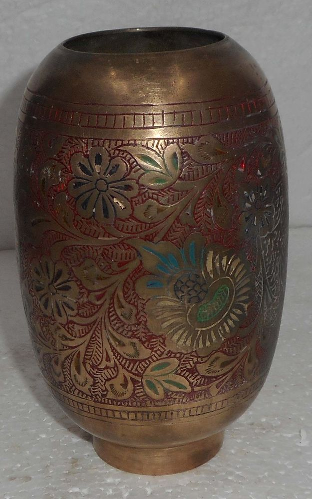 Vintage Brass Flower Vase Hand Engraved Wod Inlay Colored Work S2205
