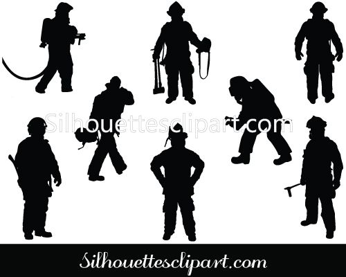 Firefighter Silhouette Vector Download Free