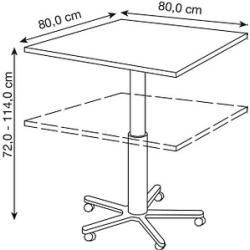Hammerbacher Bar Table Height Adjustable Gray Square