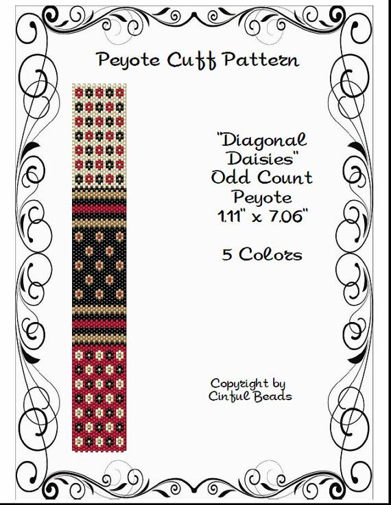 Peyote Bracelet Pattern, Mini Flower Design using Miyuki 11/0 Delica beads