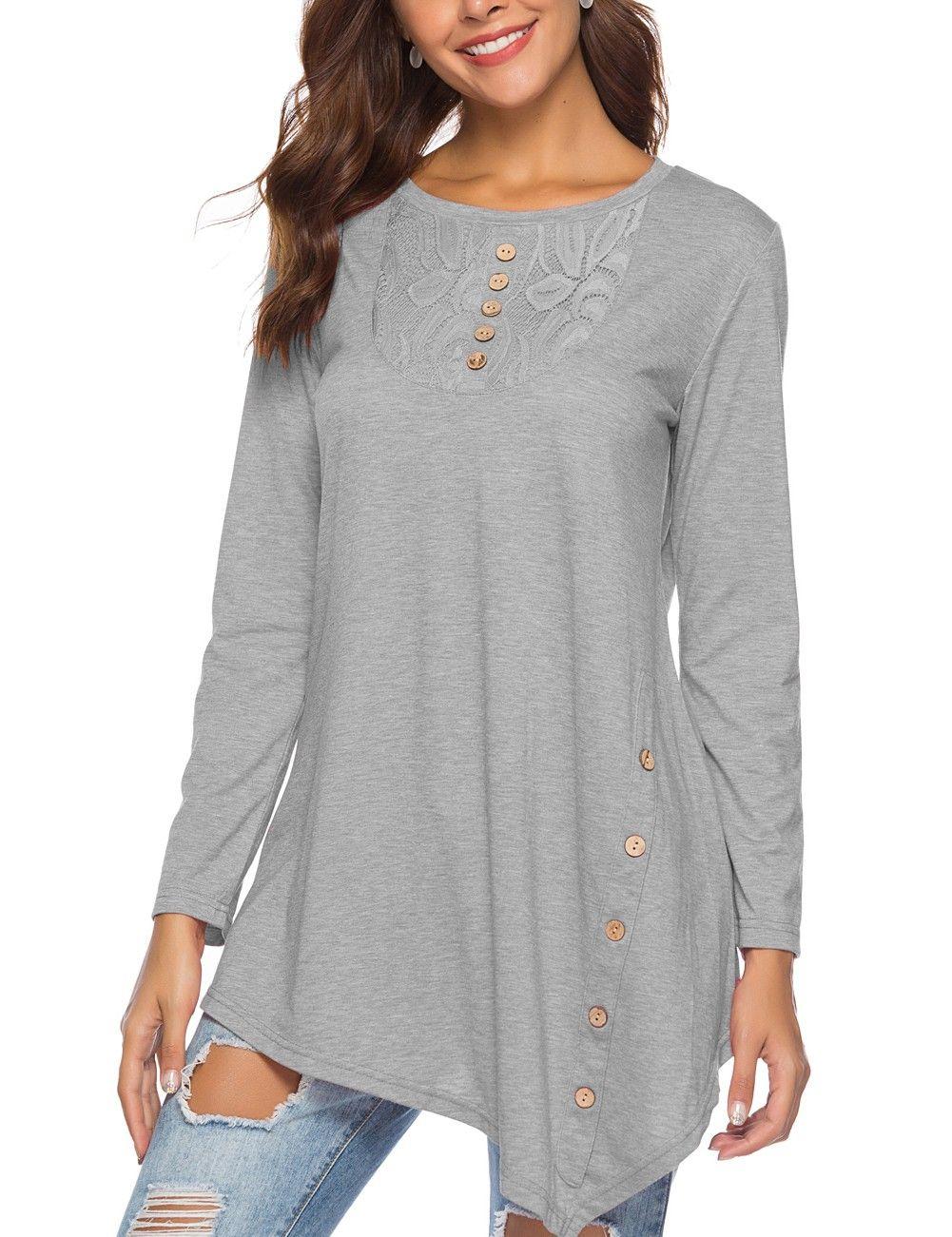 aa6d38e399fc1f Royal Grey Lace Stiching Shirt Long Sleeve Stretch in 2019