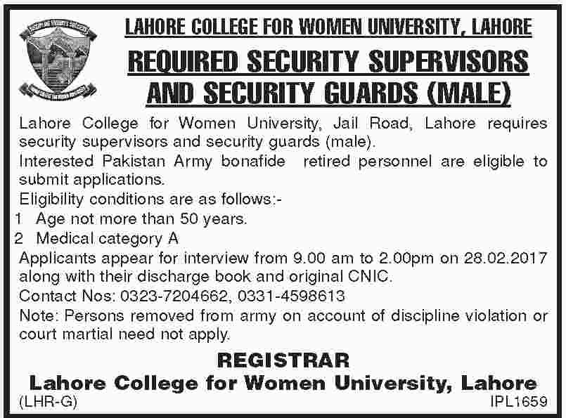 Lahore College For Women University Jobs opportunity 23