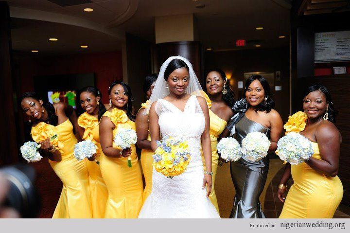 Bridesmaids Wearing Yellow Whilst The Chief Bridesmaid Is Grey Silver