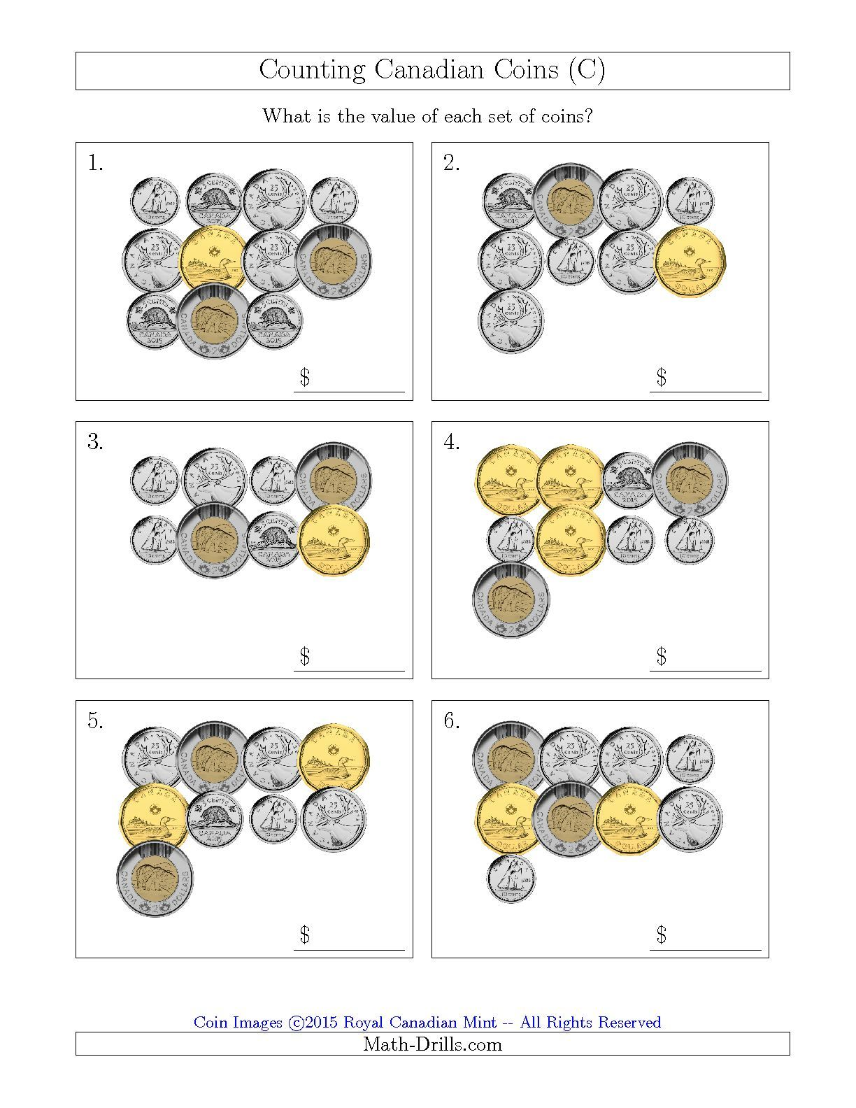 The Counting Canadian Coins C Math Worksheet From The
