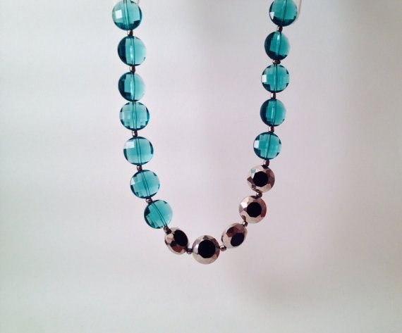 Gunmetal and teal statement beaded short necklace by MynisaUnique, $24.99