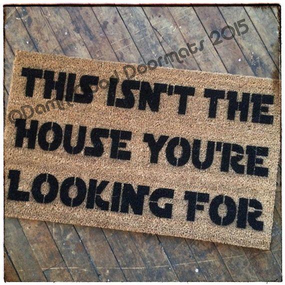 This isn't the house you're looking for, doormat #c3p0 #door #doormat #droids #funny #GEEKS #Gifts #house #Humor #isnt #mat #Nerd #Obi #r2d2 #Star #Wan #Wars #Youre