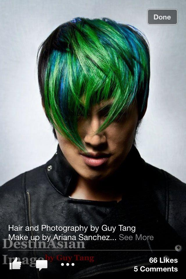 Blue Green Ombre Mens Hair Colour Green Hair Men Men Hair Color