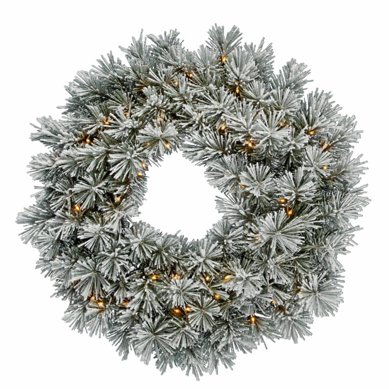 Vickerman 30 Pre Lit Flocked White Pine Artificial Christmas Wreath