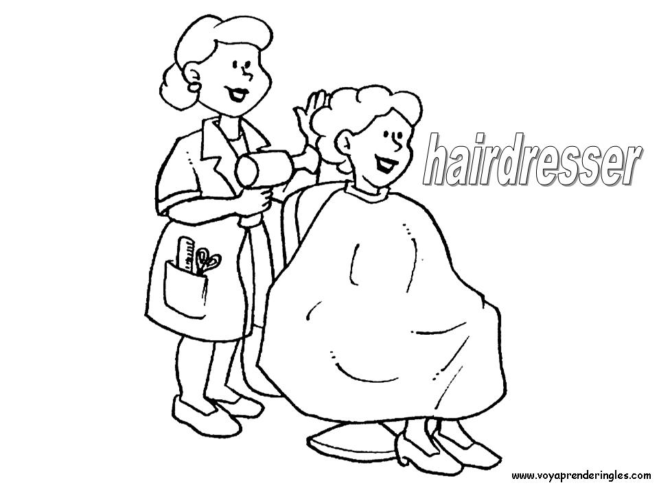 Hairdresser Dibujos Profesiones Para Colorear En Ingles Coloring Pages People Coloring Pages Coloring For Kids