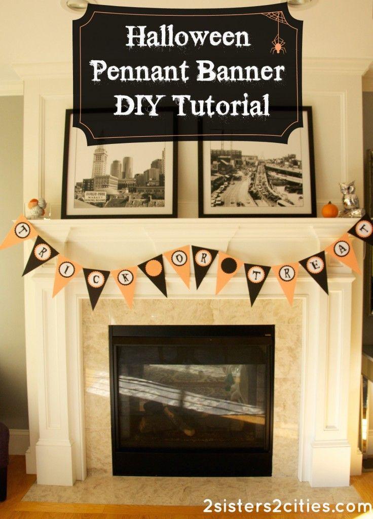 DIY Halloween Pennant Banner Pennant banners, DIY Halloween and - cheap diy halloween decorations