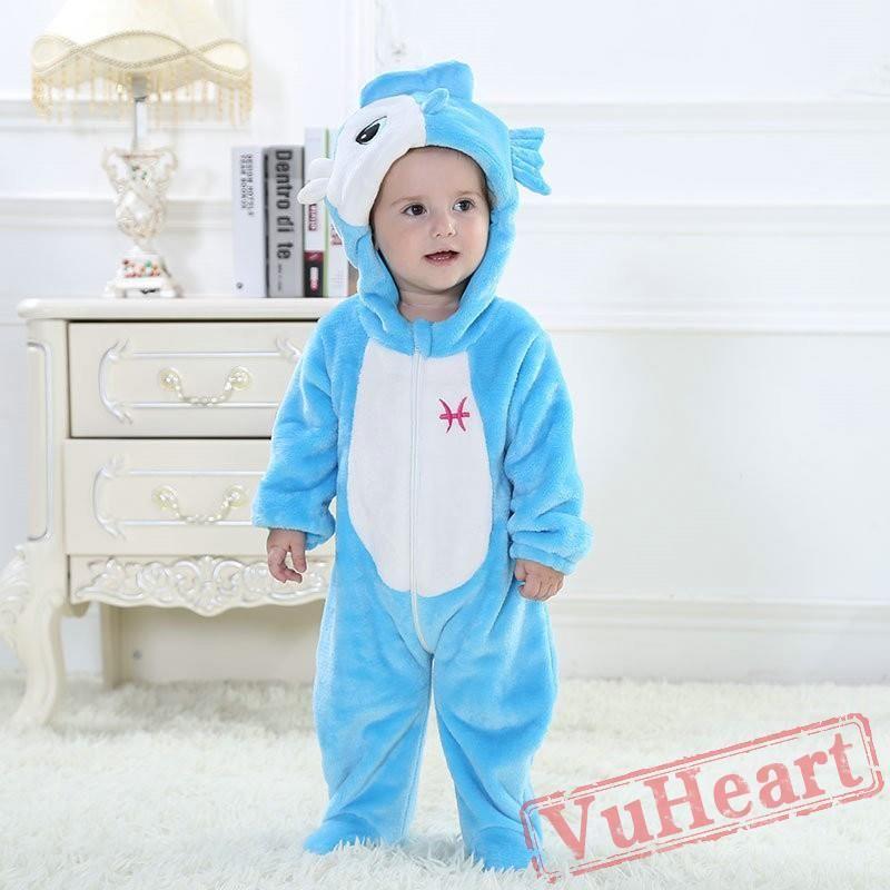 14a1def7ae3f Pisces Blue Fish Kigurumi Onesies Pajamas Costumes Toddler Pajamas ...