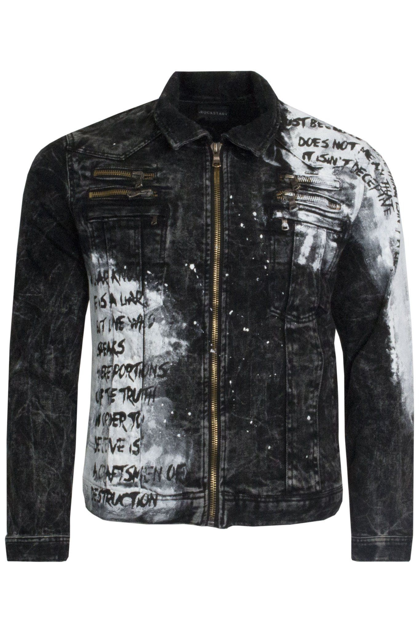 737c20fbc4b3 Rockstar Brooklyn Acid Black Denim Jacket