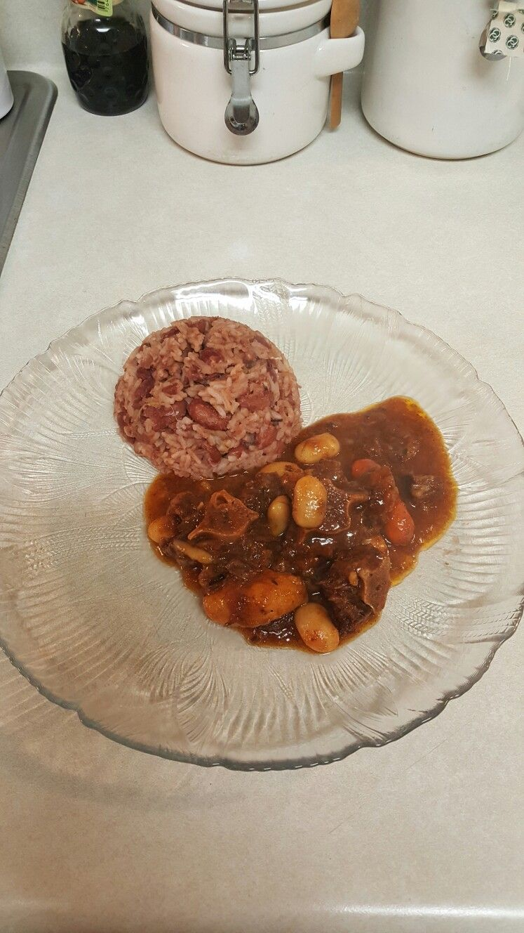oxtails with rice and peas  rice peas ethnic recipes