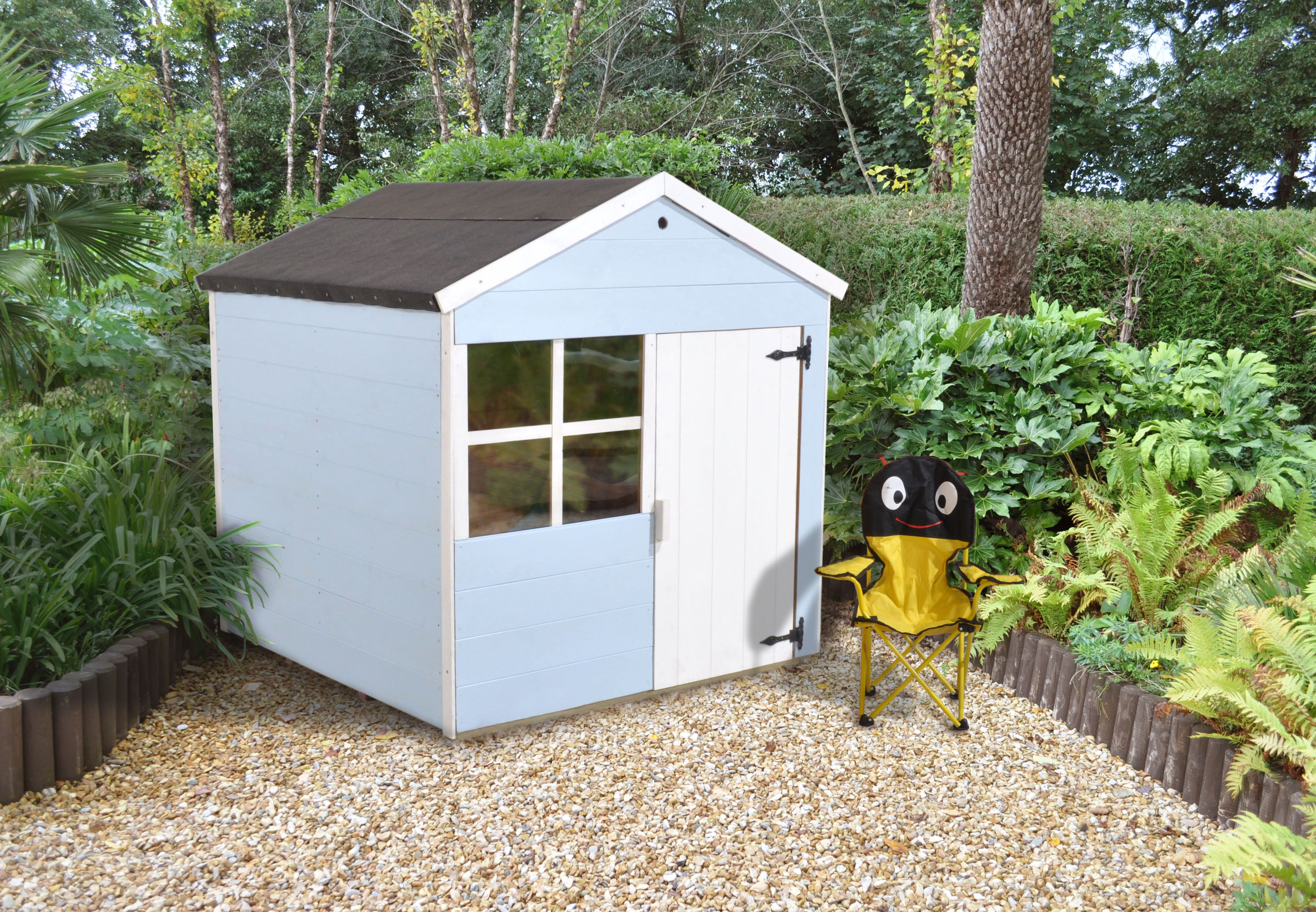 Forest Garden Peach Playhouse playtime for boys painted in cuprinol ...