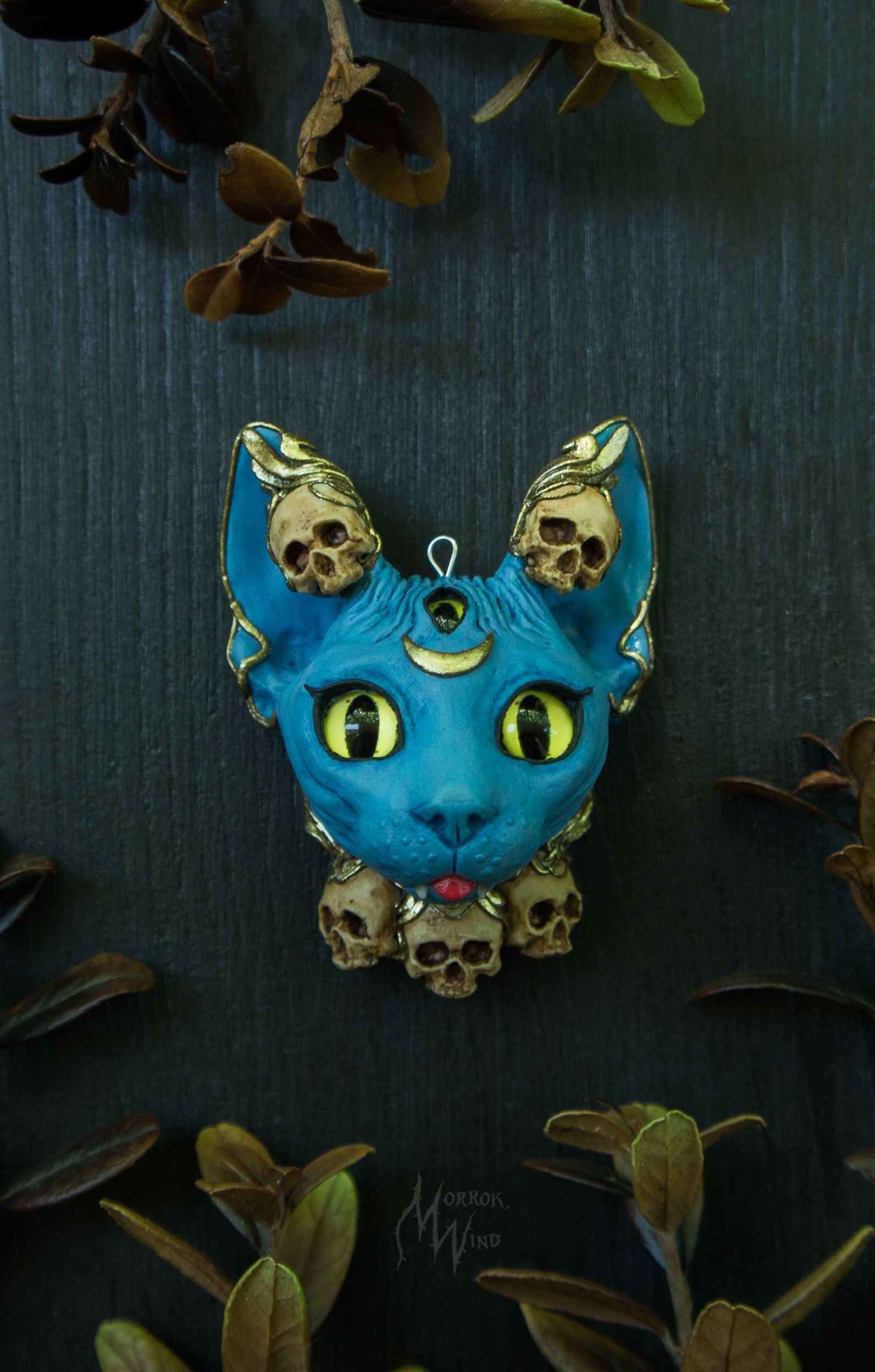 sphynx goddess Kali cat skulls blue gold indian mythology