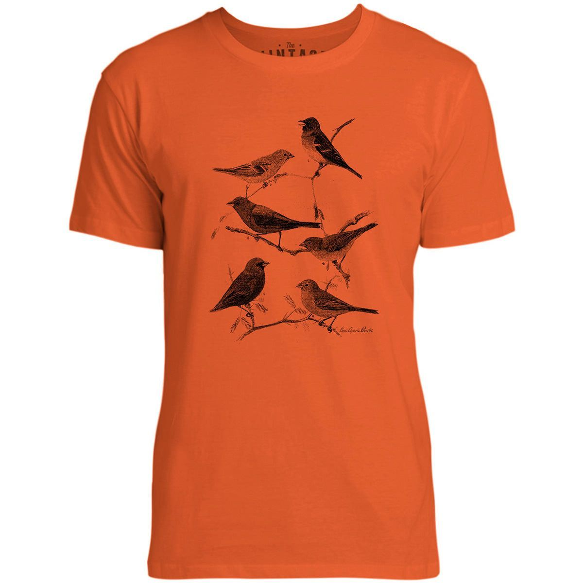 Mintage Birds on the Branch Mens Fine Jersey T-Shirt (Orange)