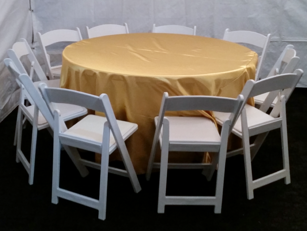 Round Tables, White Padded Folding Chairs And Gold Tablecloths For Rent  #PartyRentals #LosAngeles