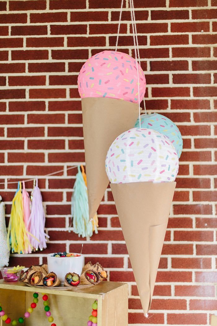 Ice cream pinata from Confetti Inspired Ice Cream Birthday Party at Kara's Party Ideas. See more at karaspartyideas.com!