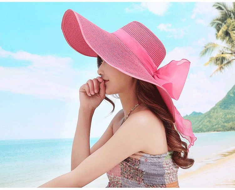 3b065be2 2016 Straw Hats For Women's Female Summer Ladies Wide Brim Beach Hats Sexy  Chapeau Large Floppy