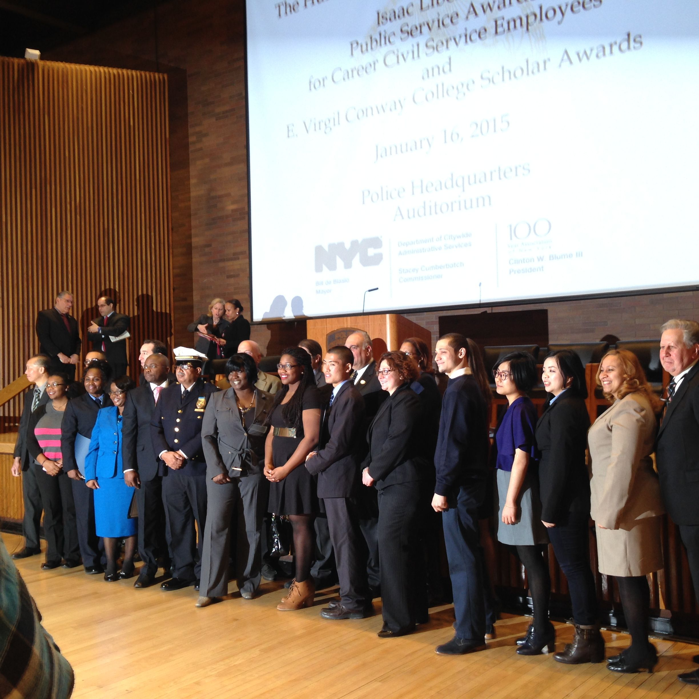 2014 E. Virgil College Scholarship and Issac Liberman Public Service Award Ceremony at One Police Plaza.- January 16, 2015