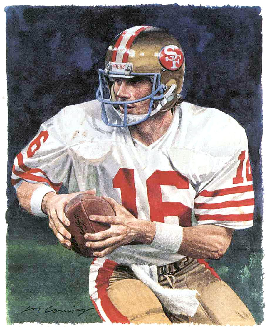 Joe Montana San Francisco 49ers By Merv Corning Nfl Football Cards Montana Football Joe Montana