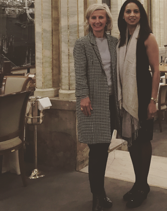 Michaela Jedinak wears her monochrome Audrey coat, which is a limited edition at the leadership business talk by Parosha Chandran- is a human rights barrister.