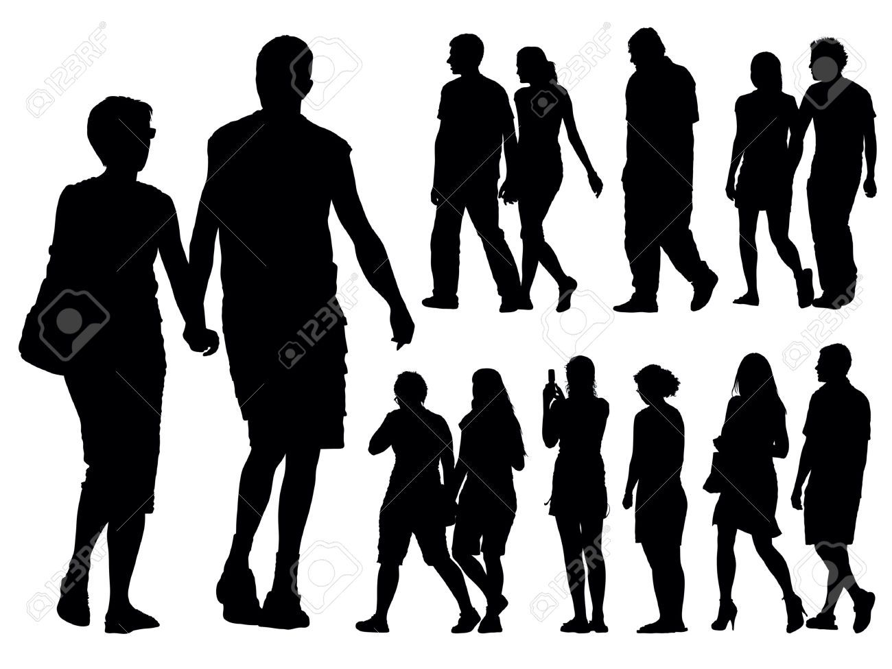 A Set Of People Silhouettes Vector Illustration Royalty Free