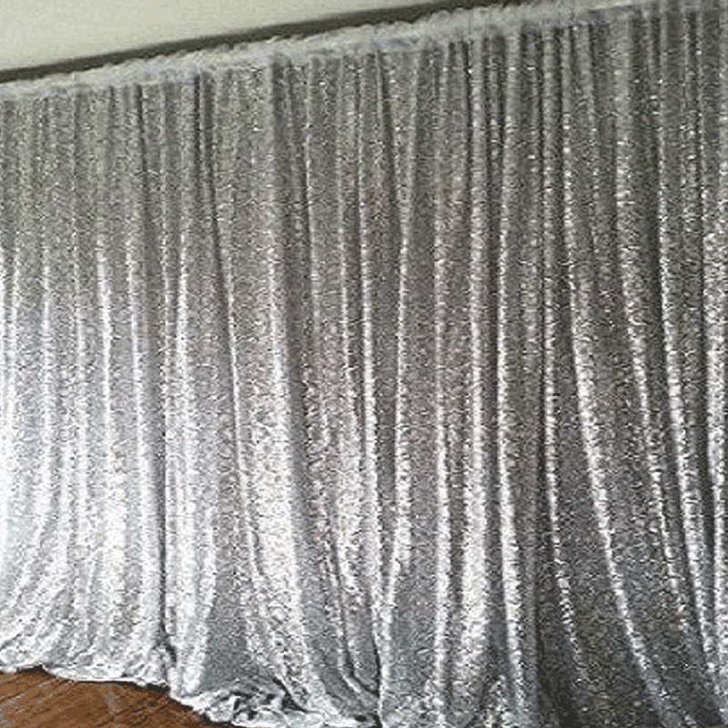 20ft X 10ft Silver Sequin Backdrop Curtain Double Layered With