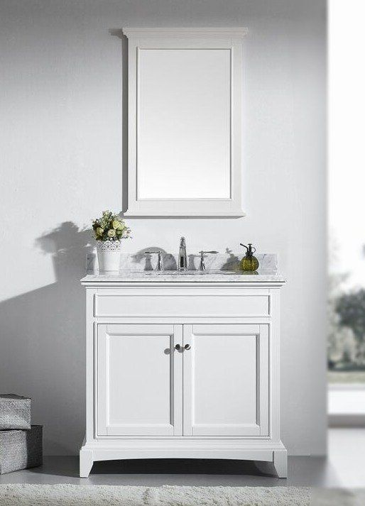 White Bathroom Vanity With Marble Top. Accanto 36 Inch White Bathroom Vanity Set With White Carrera Marble Top