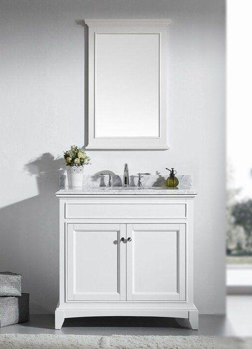 Accanto 36 Inch White Bathroom Vanity Set With White Carrera