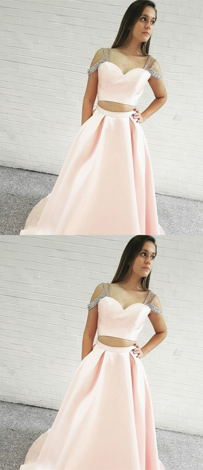 Two piece spaghetti straps sweep train pink satin prom dress with