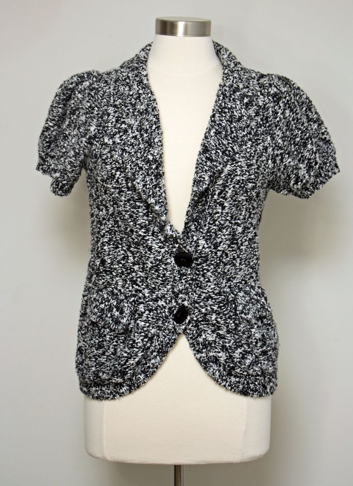 Curio Black & White Marbled Knit Cardigan Sweater Short Sleeve ...