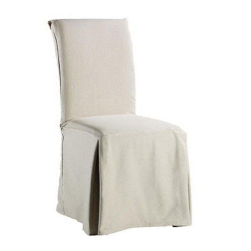 Sure Fit Twill Supreme Full Length Dining Room Chair Cover Flax