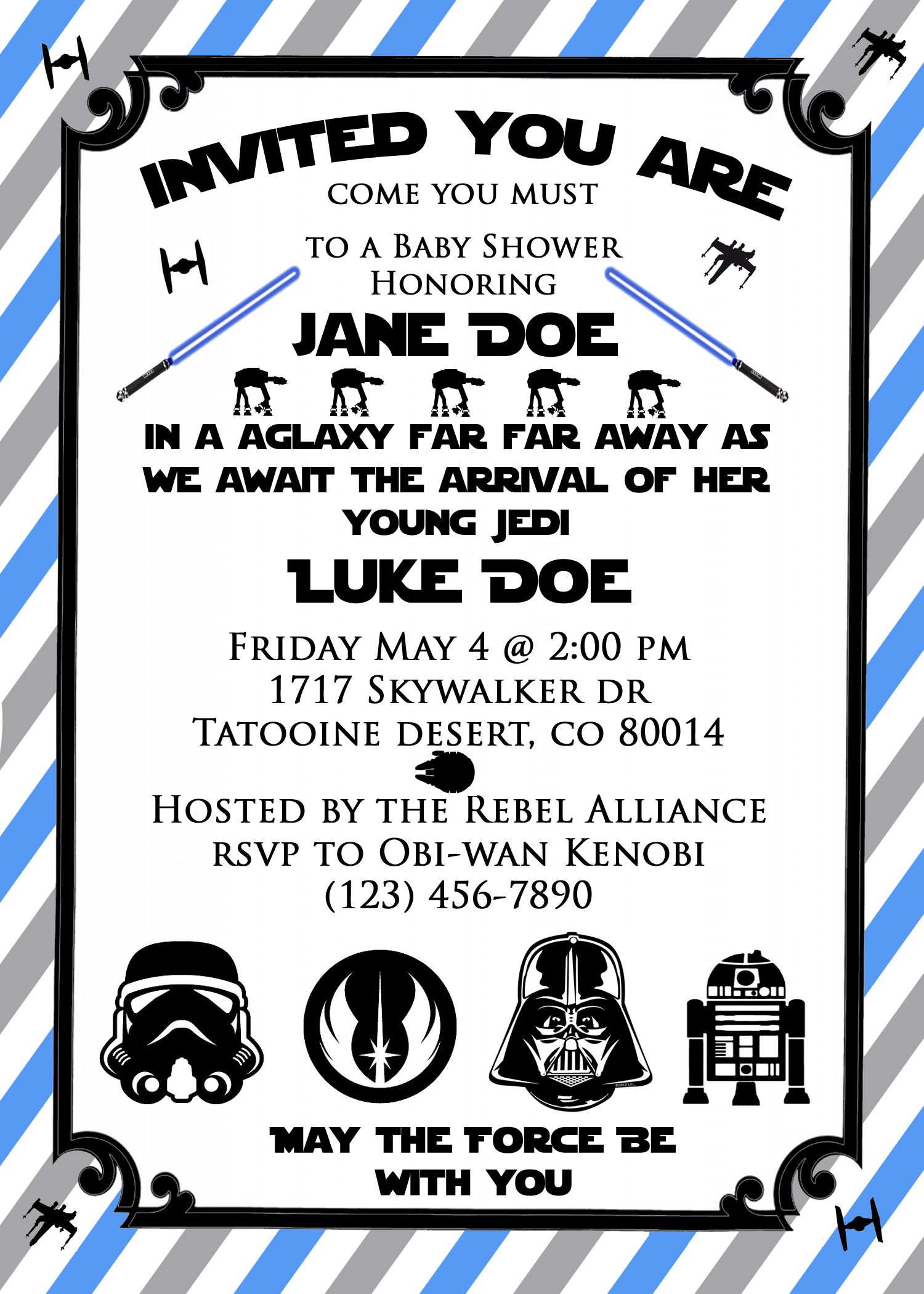 Star Wars Baby Shower Invite! So Cute For A Star Wars Themed Baby Shower Or