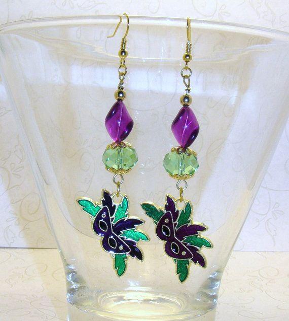 Beautiful Mardi Gras Dangling Earrings With by CharmedElegance