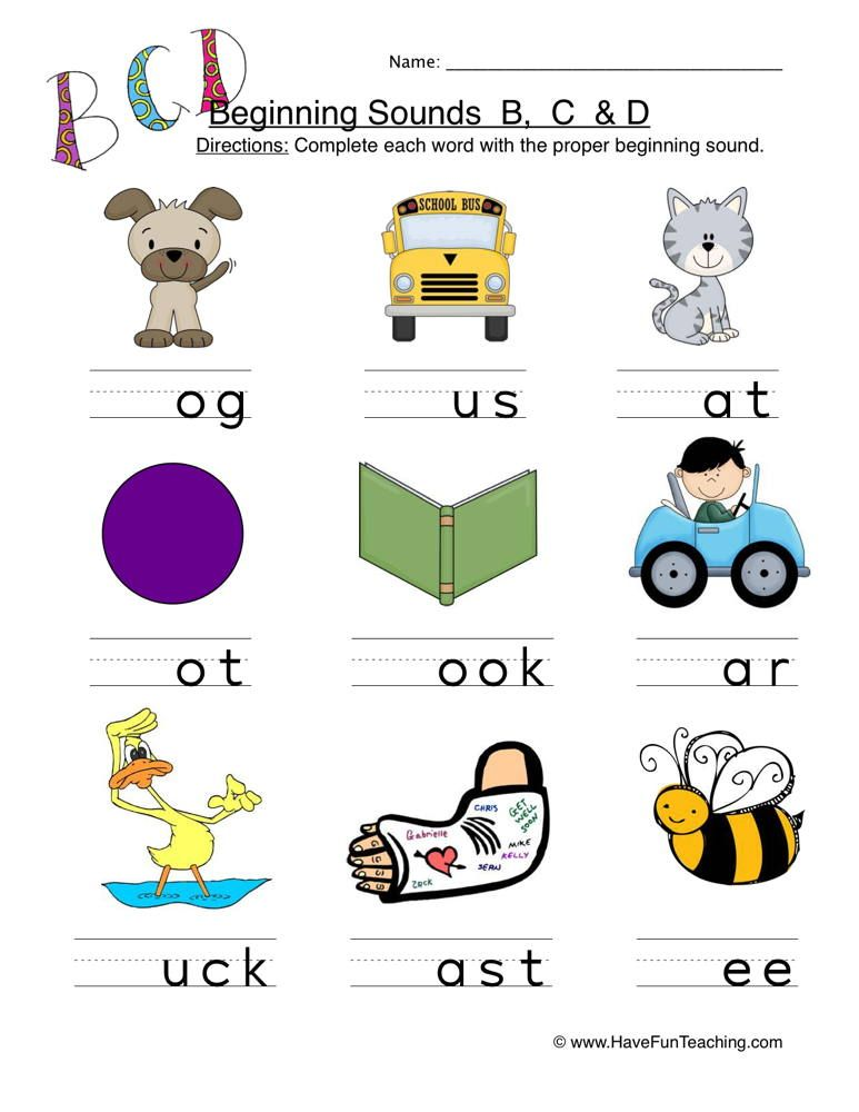 Beginning Sounds B C D Worksheet 1 (With images