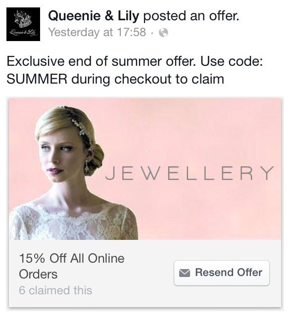 We've got an exclusive offer on our Facebook page! Pop over and have a look www.facebook.com/queenieandlily  15% off wedding jewellery & wedding accessories  www.queenieandlily.co.uk