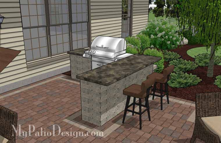Creative Backyard Patio Design with Grill Station-Bar|  530 sq ft | Download Installation Plan, How-to's and Material List @Mypatiodesign.com #patiodesign
