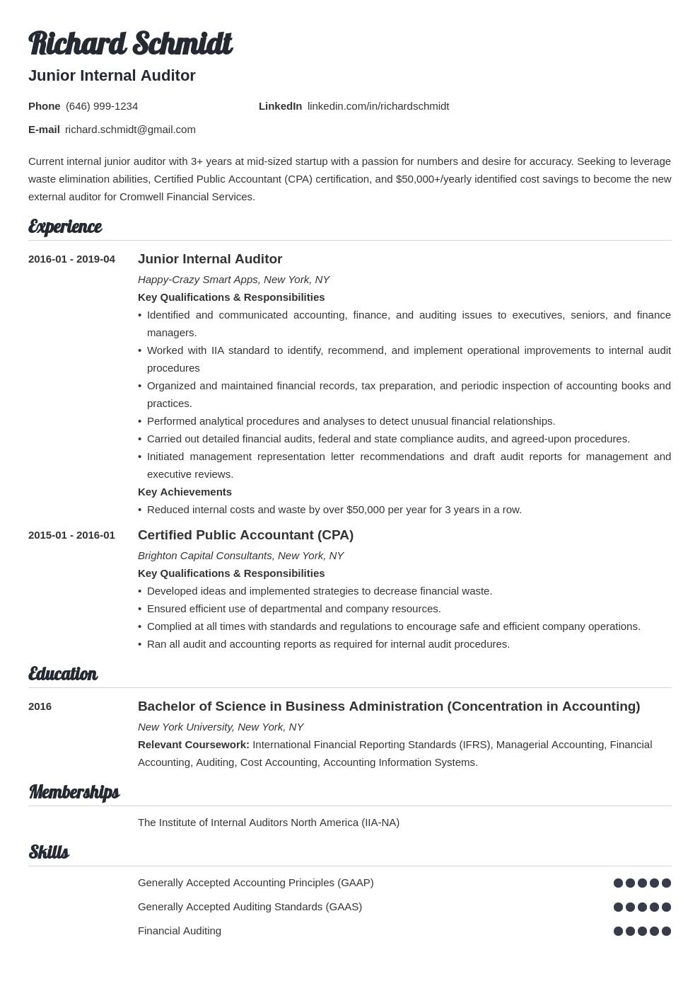auditor resume example template valera in 2020 Resume