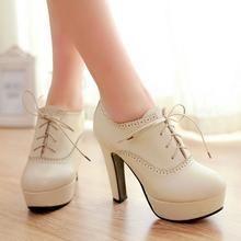 33b93efc867 Shoes Galore - Brogue Lace-Up Platform Pumps
