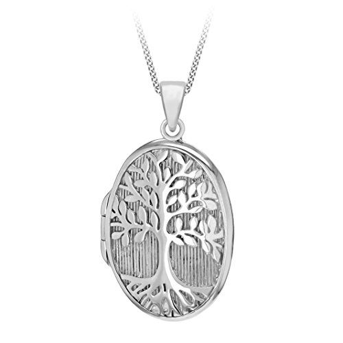 Tuscany Silver Sterling Silver Rhodium Plated 'Tree of Life' Locket Pendant on a Chain of Length 46cm ND4FtG8Tty