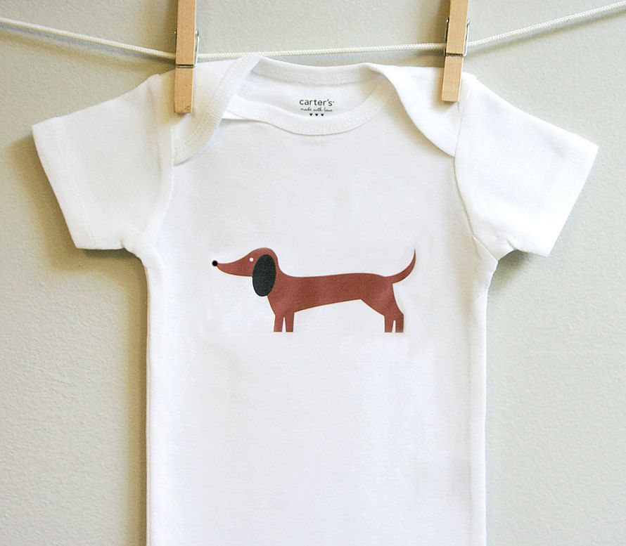 Dachshund baby clothes, baby boy or baby girl. Short or long sleeve. Your choice of size. by squarepaisleydesign on Etsy https://www.etsy.com/listing/88525718/dachshund-baby-clothes-baby-boy-or-baby