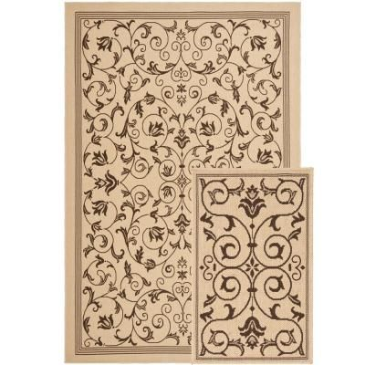 Indoor and Outdoor Bundle Natural and Chocolate Leaf 6 ft.6 in. x 9 ft.6 in. Rug Set-CY06818-402-SET2 - The Home Depot