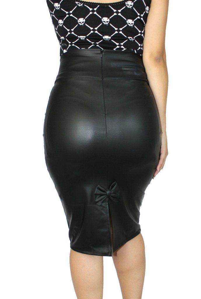 07338507b Vinyl Vixen Pleather Pinup Pencil Skirt | 1 | Skirts, Leather ...