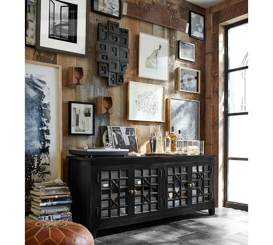 Ellyson Black TV Console From Pottery Barn And Gallery Wall